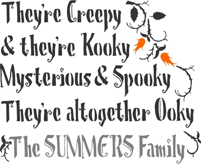 "They're Creepy & they're Kooky Mysterious & Spooky... The ""Your Name"" Family"