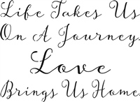 "Life Takes Us On A Journey Love Brings Us Home. 12 x 9"" Stencil (optional personalized coordinates)"