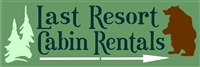 "Last Resort Cabin Rentals with Bear & Pine Tree Graphics 24 x 7.5"" Stencil"