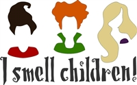 "I smell children! or Resting Witch Face Stencil -Two Size Choices ""Hocus Pocus"""