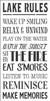 "LAKE RULES Wake Up Smiling, Relax & Unwind, Play on the Water... 12 x 24"" Stencil"