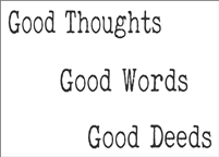"Good Thoughts Good Words Good Deeds 12 x 8.5"" Stencil"