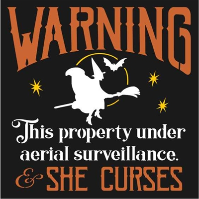 "WARNING This property under aerial surveillance & SHE CURSES 12 x 12"" stencil with witch"