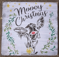 "Mooey Christmas Stencil 12 x 12"" with Cow"
