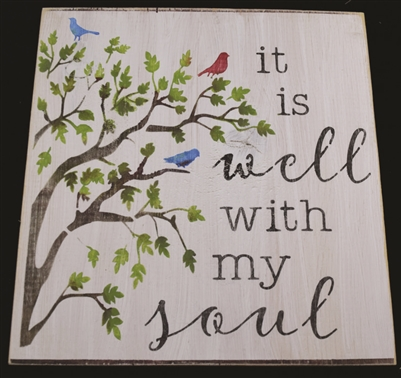 it is well with my soul w/ bird & tree graphic -Two Size Choices Stencil