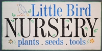 "Little Bird NURSERY plants seeds tools w/ Bird, Flower Graphics 24 x 11.5"" Stencil"