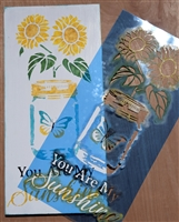 "You Are My Sunshine w/ Mason Jar & Sunflower 12 x 24"" Stencil"