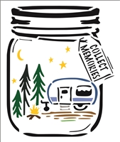"Collect Memories w/ Jar, Camper & Pine Trees 10 x 12"" Stencil"