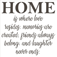 HOME is where love resides... Stencil -Two Size Choices