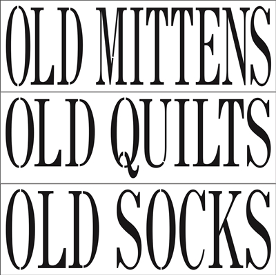 "Old Mittens (Quilts or Socks) 24 x 8"" Stencil"