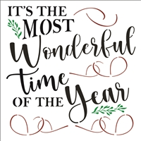 It's The Most Wonderful Time Of The Year Stencil -Three Size Choices