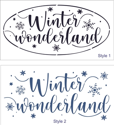 Winter wonderland w/ Snowflakes -Two Style & Size ChoicesStencil