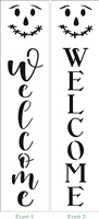 Welcome Vertical w/ Scarecrow Stencil -Two Font & Size Choices