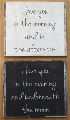 "I love you in the morning... I love you in the evening... Two 9.5"" x 9.5"" Stencil Set"