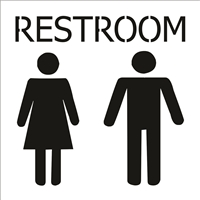 Restroom wording with Woman / Man Graphic