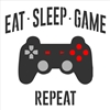 "EAT SLEEP GAME REPEAT w/ Game Controller Graphic 12 x 12"" Stencil"