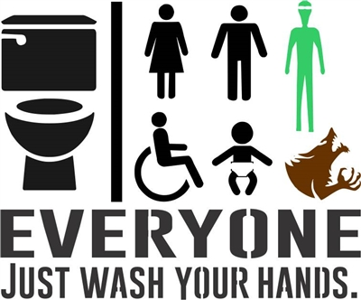"EVERYONE JUST WASH YOUR HANDS. Toilet / Bathroom  12 x 10"" Stencil"