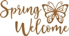 "Spring Welcome w/ Butterfly Graphic Laser Cut 1/4"" Birch Wood"