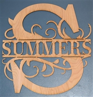 "Custom Split Initial w/ YOUR NAME Laser Cut 1/4"" Birch Wood -Two Size Choices"
