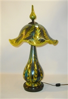 Beautiful Mandarin Yellow Table Lamp with Wisteria Pattern