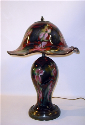 Beautiful Selenium Red with  Pink Multi Flora Table Lamp