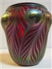 Charles Lotton Iridized   Red Peacock Vase