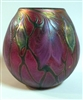 Daniel Lotton Purple Vase Iridized with Drop Leaf