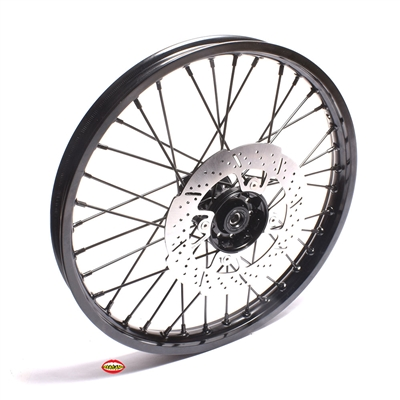 "New 17"" High Performance Spoke FRONT wheel with 220mm rotor - FASHIONABLE BLACK"