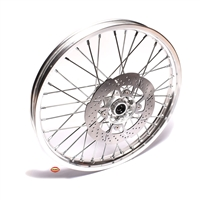 "new 1.4 x 17"" aluminum spoke FRONT wheel with 220mm rotor - CLASSIC SILVER"