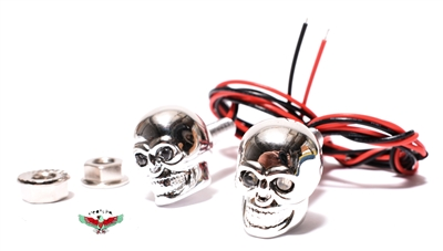 chrome DEATH'S HEAD led lights - RED