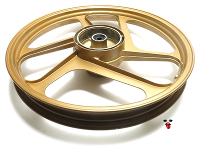 "new derbi OEM 17"" gold slanted 3 star mag wheel - FRONT"