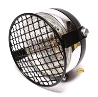 "universal 5"" moped headlight WITH grill - BLACK"