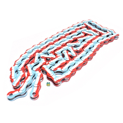 "red white and blue 1/8"" bicycle chain - 112 links - FRANCE!"