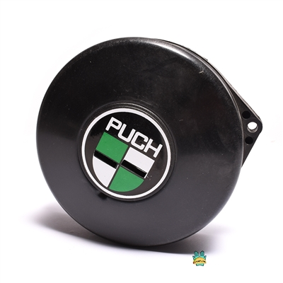 NOS plastic puch flywheel cover - white n green logo