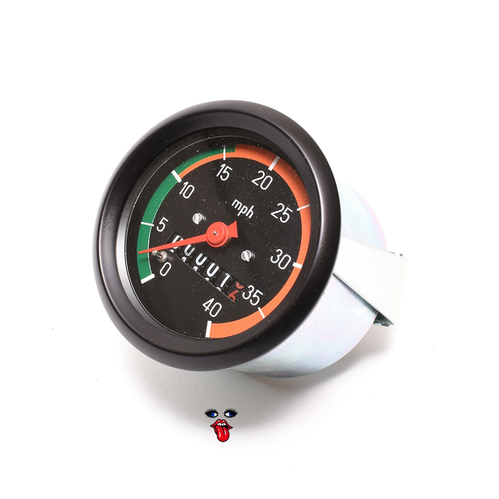 puch vdo style 40MPH speedometer - two speed style GREEN n ORANGE