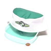 puch white and green poker biker hat