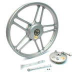 "puch new 16"" silver FRONT five star mag wheel complete"