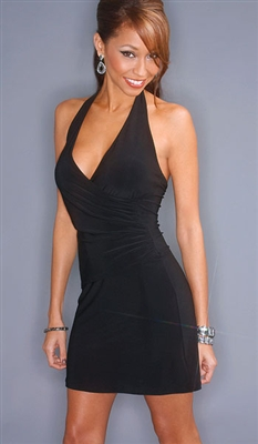 Mock wrap halter dress