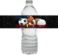 Sports Bar Mitzvah Waterproof Water Bottle Labels