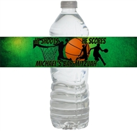 Basketball Bar Mitzvah Waterproof Water Bottle Labels