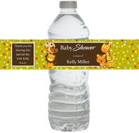 Jungle Safari Baby Shower Waterproof Water Bottle Labels