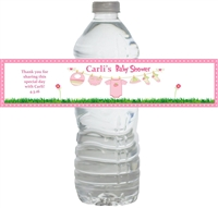 Pink Clothesline Baby Shower Waterproof Water Bottle Labels