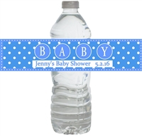 Blue Big Baby Waterproof Water Bottle Labels