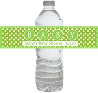 Green Big Baby Waterproof Water Bottle Labels