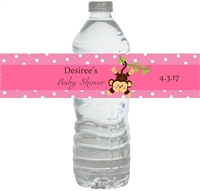 Pink Monkey Waterproof Water Bottle Labels