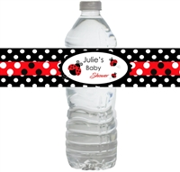 Lady Bug Baby Shower Waterproof Water Bottle Labels