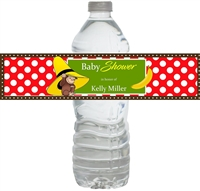 Curious George Baby Shower Waterproof Water Bottle Labels