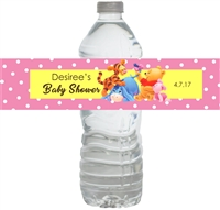 Pink Winnie the Pooh Baby Shower Waterproof Water Bottle Labels