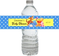 Blue Winnie the Pooh Baby Shower Waterproof Water Bottle Labels
