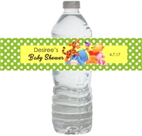 Green Winnie the Pooh Baby Shower Waterproof Water Bottle Labels